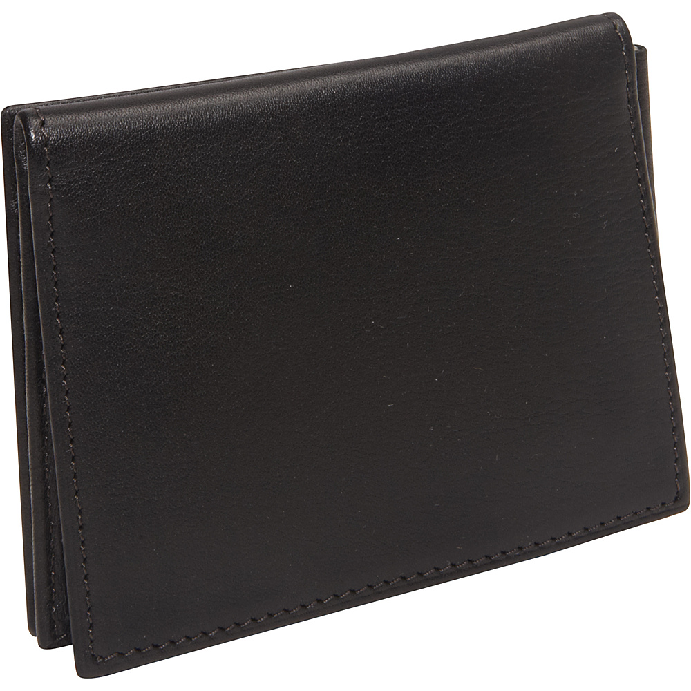 Bosca Nappa Vitello Money Clip w/Outside Pocket Black - Bosca Men's Wallets
