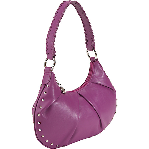 Bisadora Leather Studded Hobo - Purple