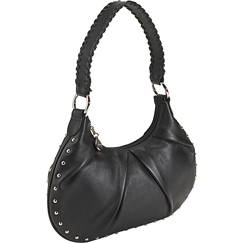 Bisadora Leather Studded Hobo - Black