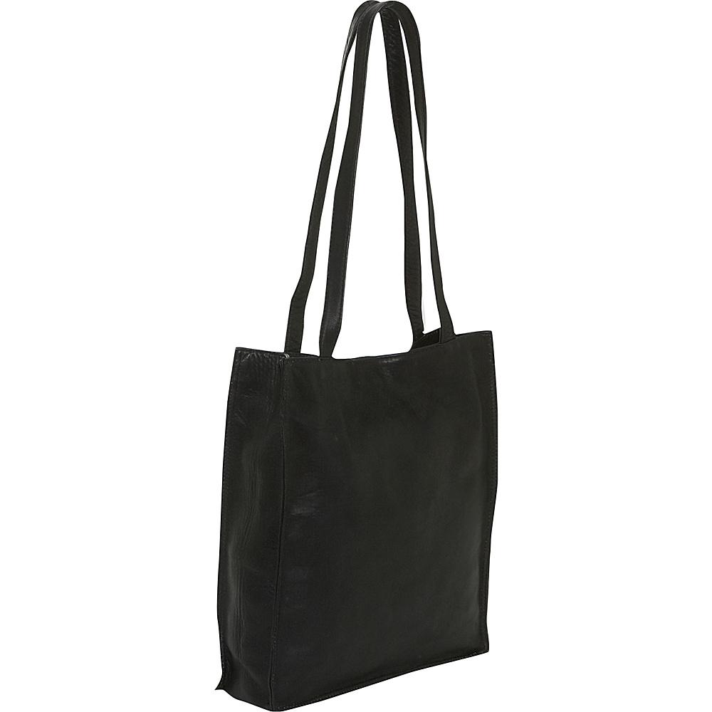 Piel Open Tote - Black - Handbags, Leather Handbags