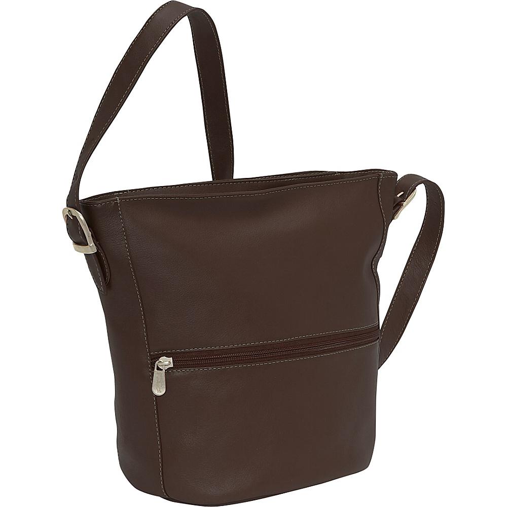 Piel Bucket Bag - Chocolate - Handbags, Leather Handbags