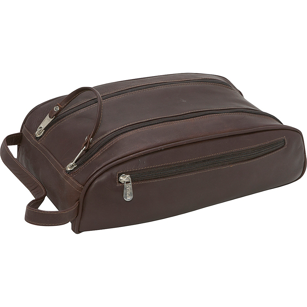 Piel Double Compartment Travel Bag - Chocolate - Travel Accessories, Toiletry Kits