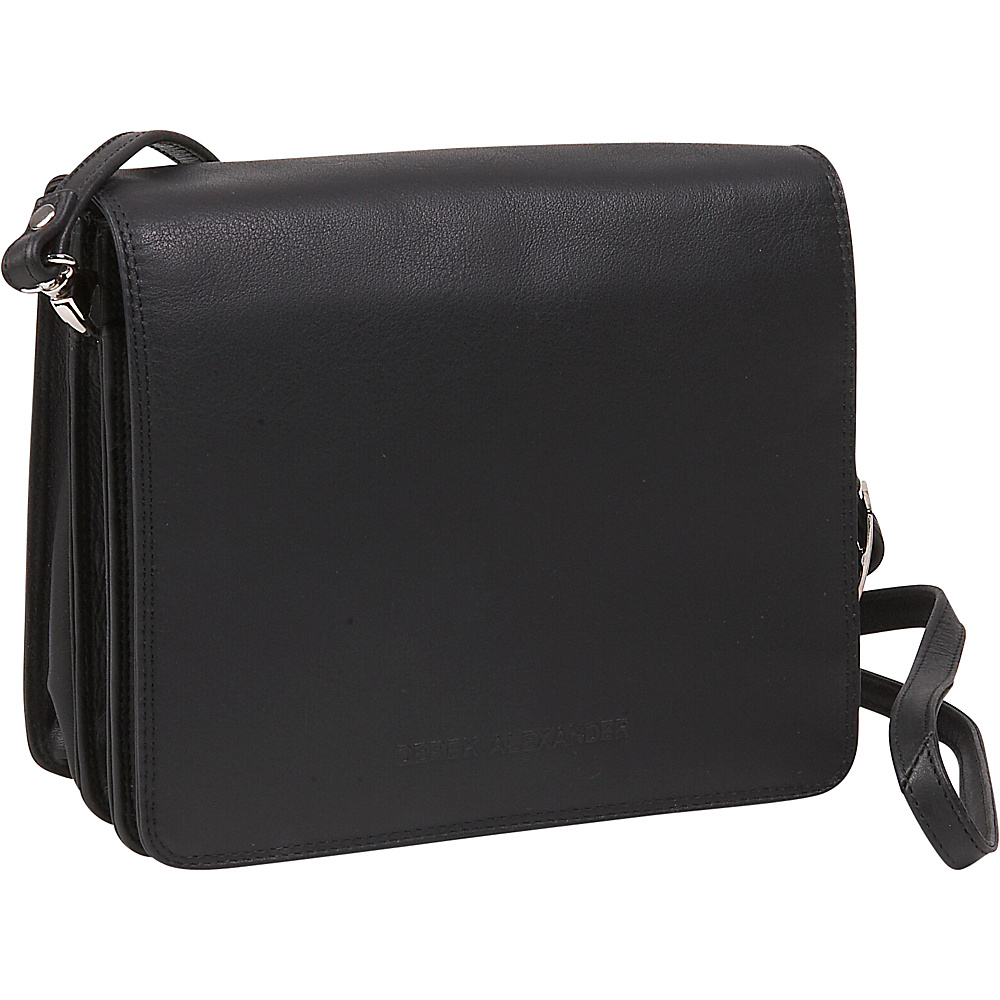 Derek Alexander Mini Full Front Flap Organizer - Black - Handbags, Leather Handbags