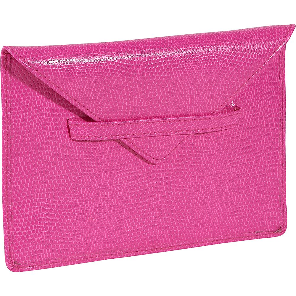 Budd Leather Lizard Print Calf Photo Envelope Pink