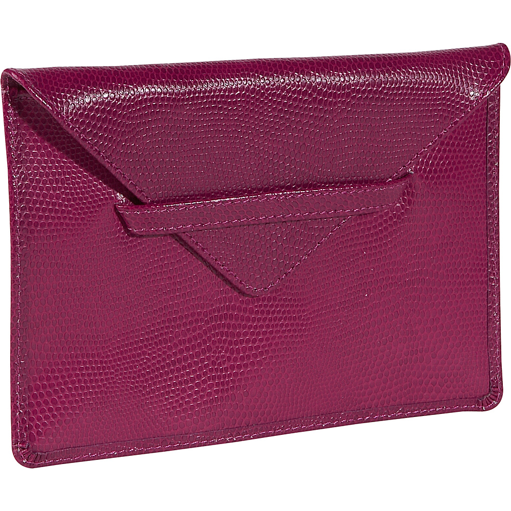 Budd Leather Lizard Print Calf Photo Envelope Fuchsia