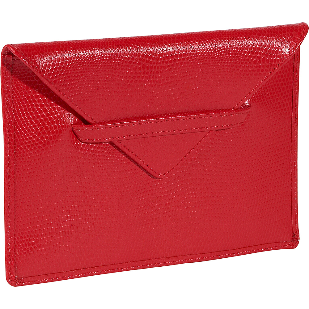 Budd Leather Lizard Print Calf Photo Envelope Red