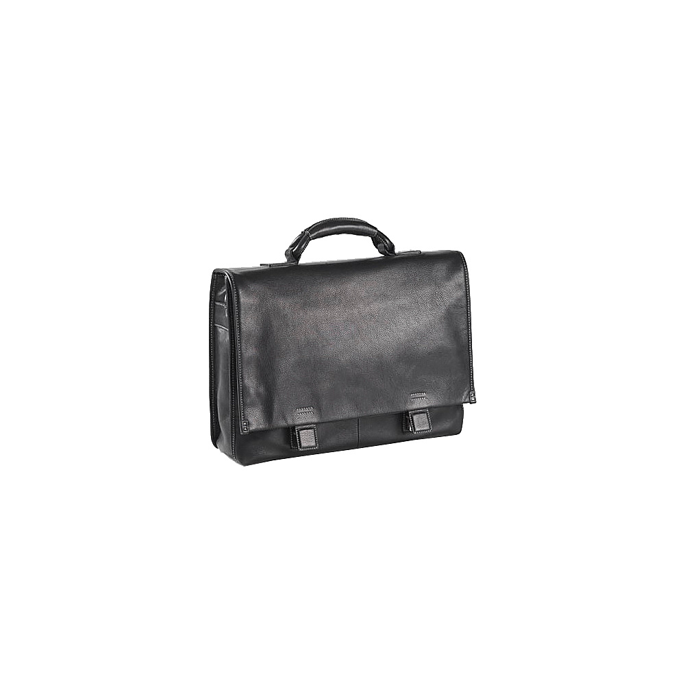Clava Tuscan Flap Briefcase - Tuscan Black - Work Bags & Briefcases, Non-Wheeled Business Cases