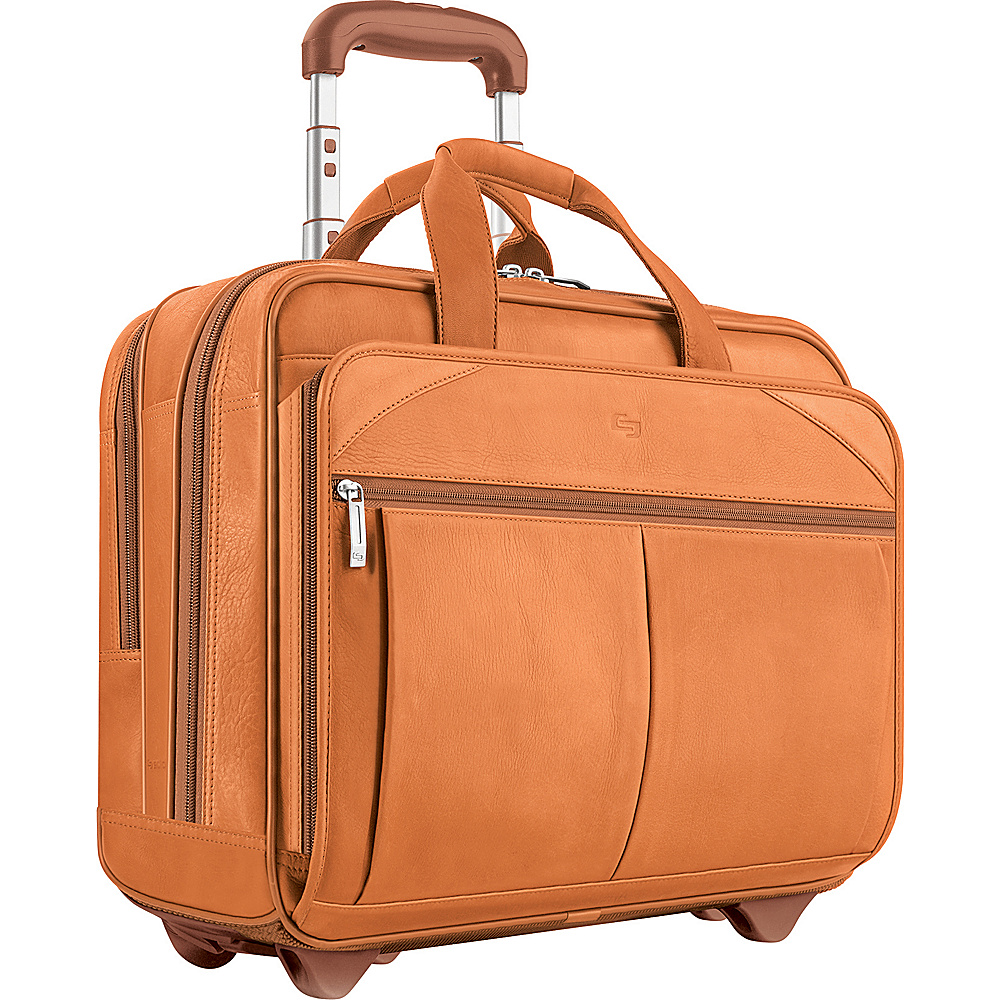 SOLO Full-Grain Leather Rolling Computer Brief - Tan - Work Bags & Briefcases, Wheeled Business Cases