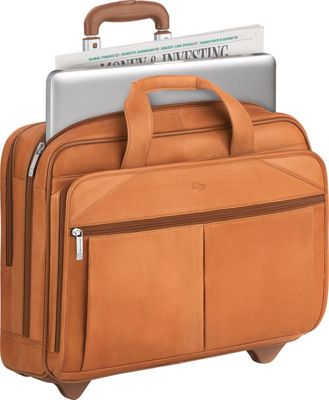 "SOLO Premium Leather 15.6"" Laptop Rolling Case 3 Colors Wheeled Business Case"