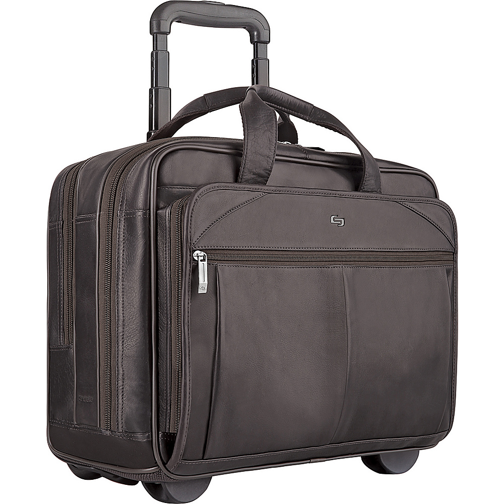 SOLO Full-Grain Leather Rolling Computer Brief - Work Bags & Briefcases, Wheeled Business Cases