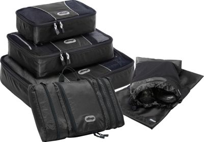 eBags Value Set: Packing Cubes + Pack-It-Flat + Shoe Sleeves Black - eBags Travel Organizers