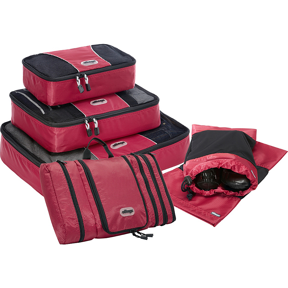 eBags Value Set: Packing Cubes + Pack-It-Flat + Shoe Sleeves Raspberry - eBags Travel Organizers - Travel Accessories, Travel Organizers