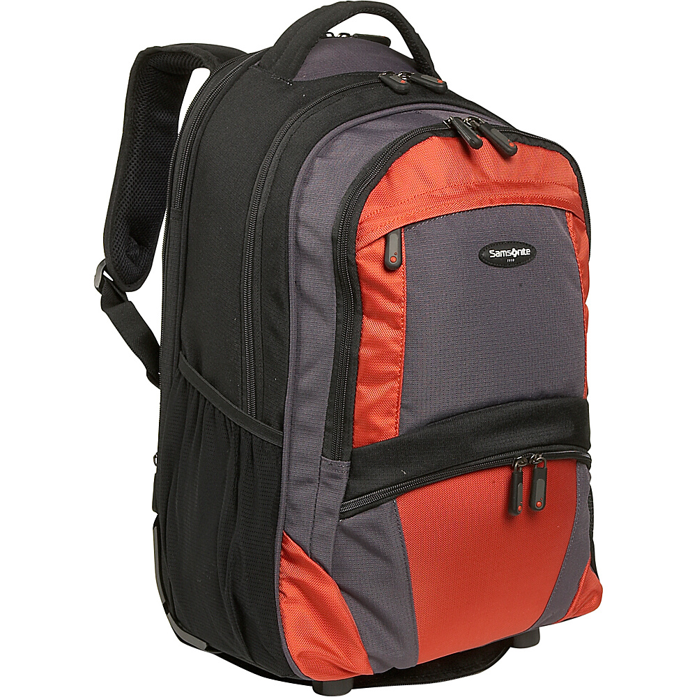 Samsonite Wheeled Backpack - Medium - Black/Orange - Backpacks, Rolling Backpacks