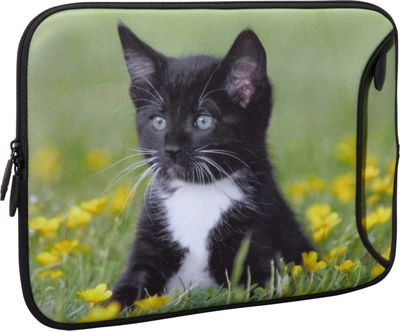 Designer Sleeves 14 inch Designer Laptop Sleeve Midnight Kitten - Designer Sleeves Electronic Cases