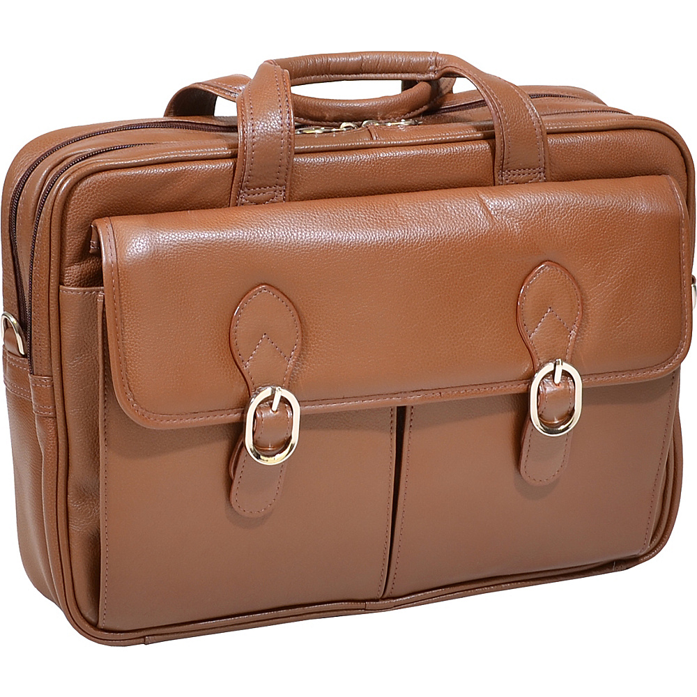 McKlein USA Kenwood Leather 15.4 Laptop Case - Cognac - Work Bags & Briefcases, Non-Wheeled Business Cases
