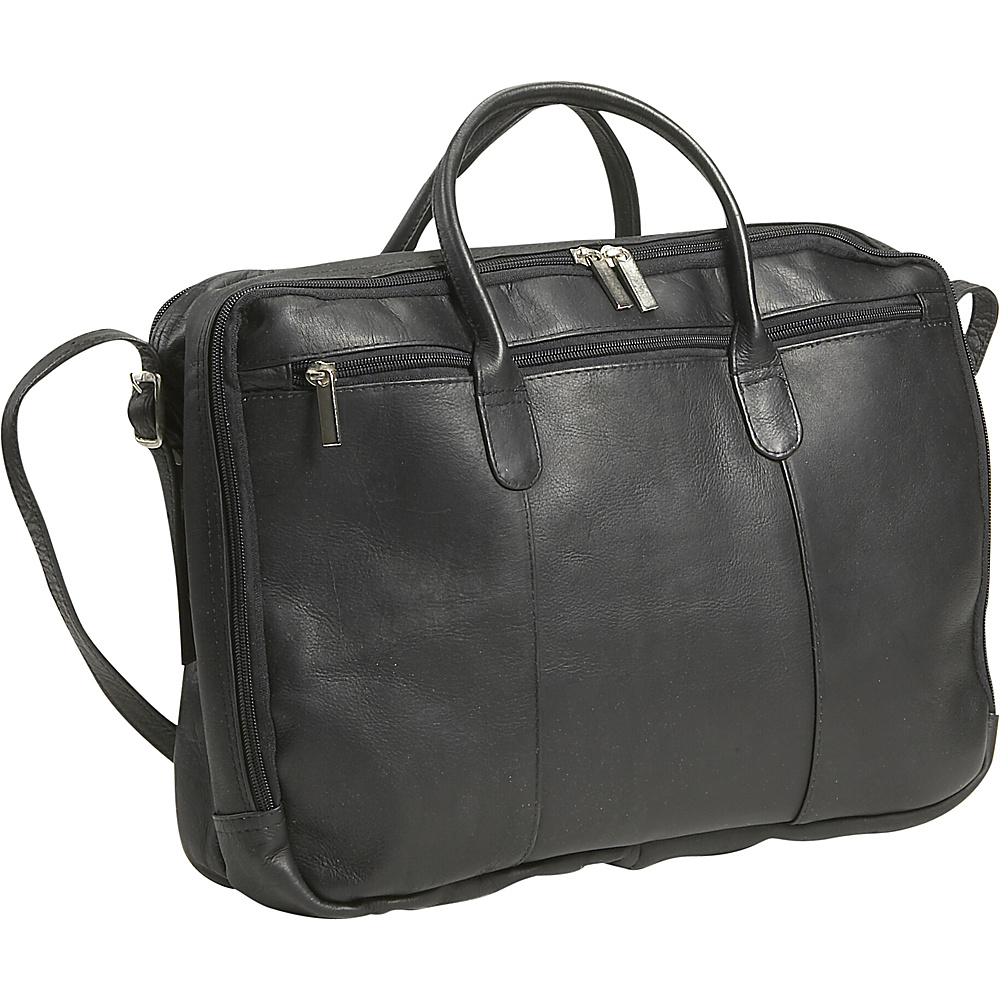 David King & Co. Double Top Zip  Portfolio - Black - Work Bags & Briefcases, Non-Wheeled Business Cases