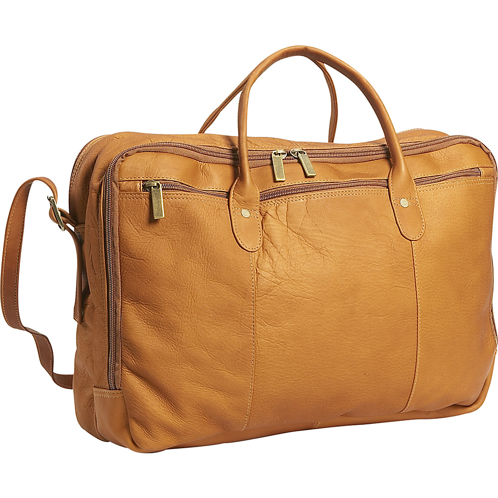 David King & Co. Double Top Zip  Portfolio - Tan - Work Bags & Briefcases, Non-Wheeled Business Cases