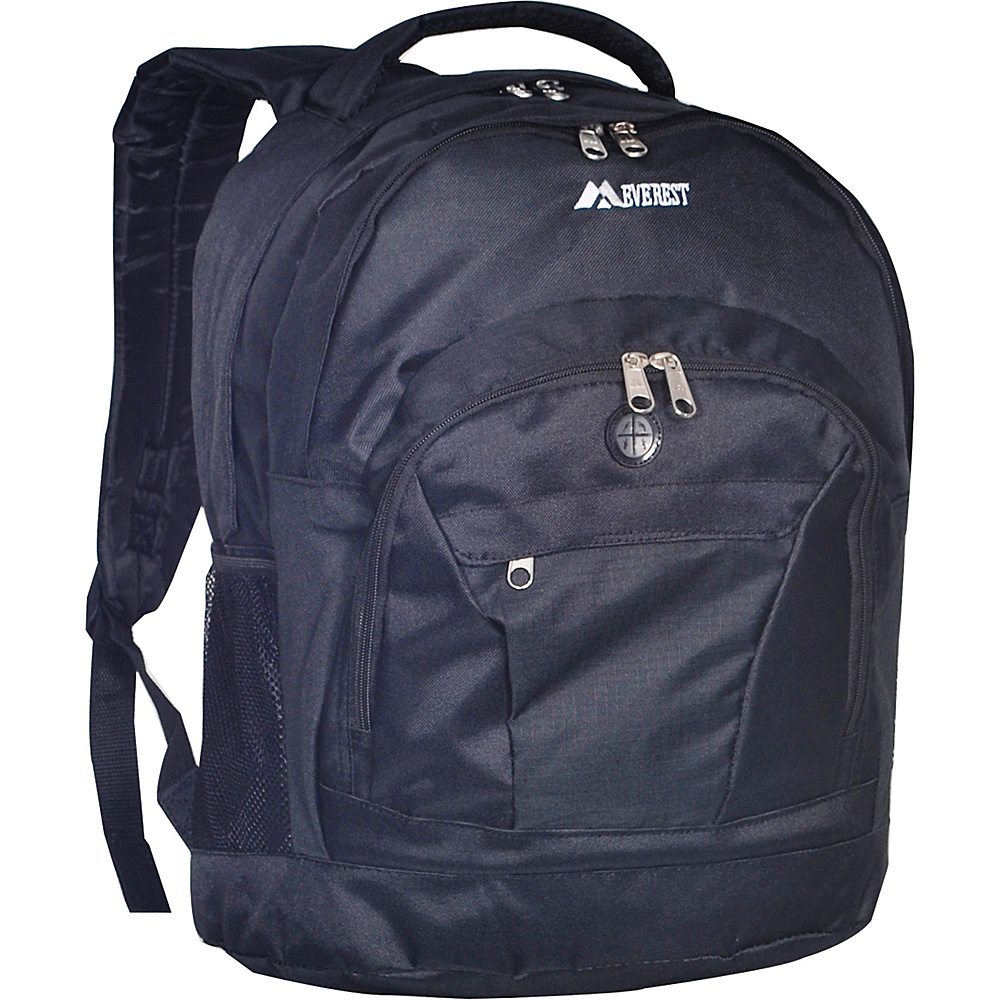 Everest Deluxe Double Compartment Backpack - Black - Backpacks, Everyday Backpacks