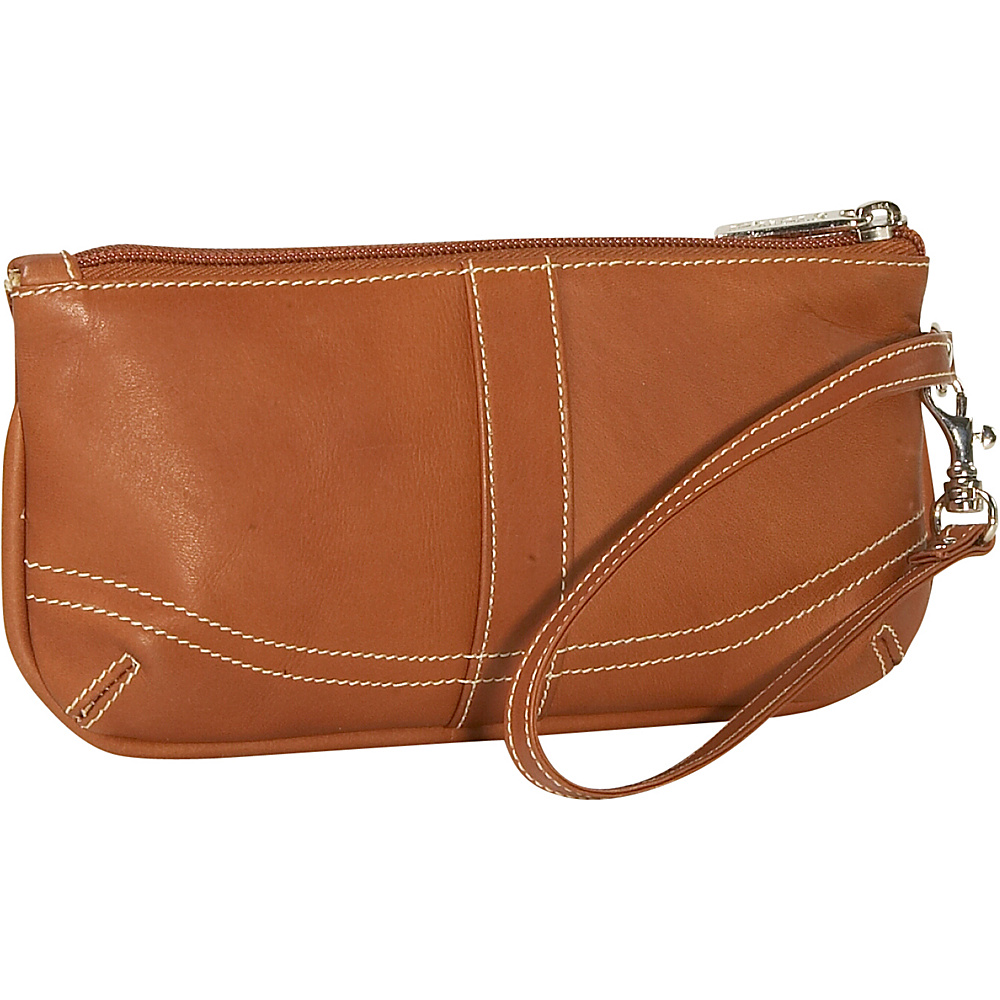 Piel Ladies Large Wristlet - Saddle - Handbags, Leather Handbags
