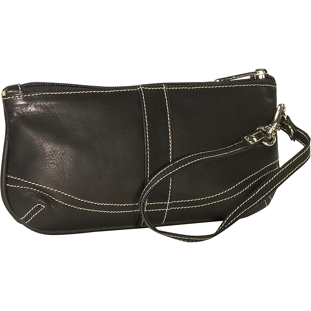 Piel Ladies Large Wristlet - Black - Handbags, Leather Handbags