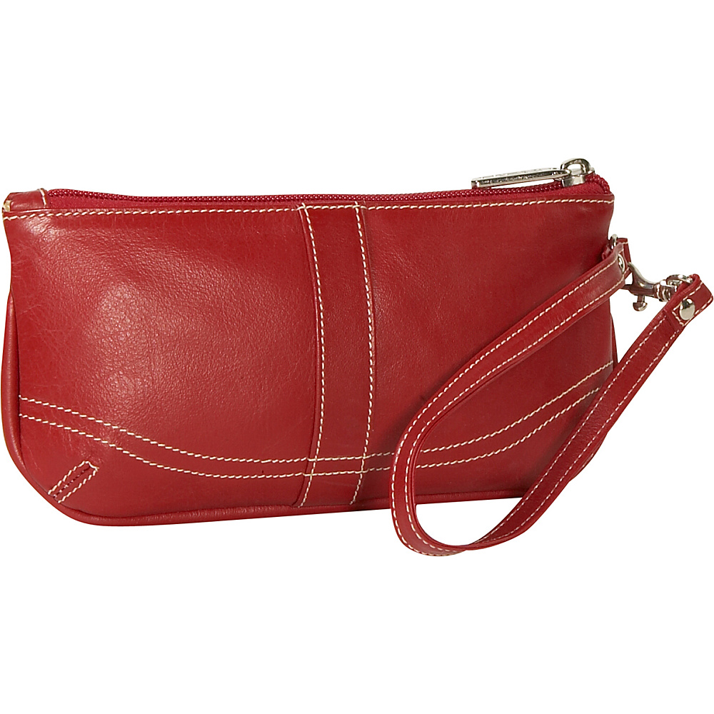 Piel Ladies Large Wristlet Red - Piel Leather Handbags - Handbags, Leather Handbags