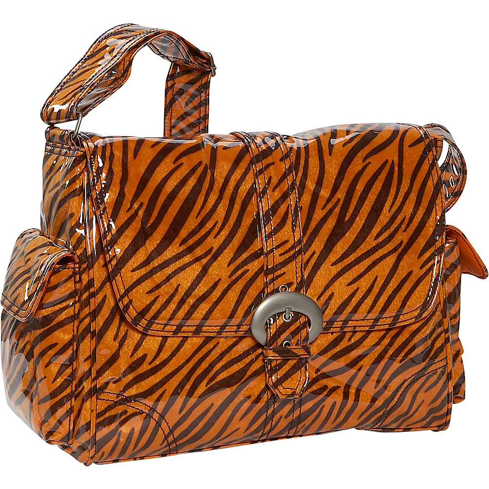 Kalencom Tiger Fur Laminated Buckle Bag - Black/Orange - Handbags, Diaper Bags & Accessories