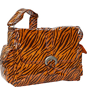 Tiger Fur Laminated Buckle Bag Black/Orange