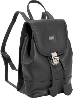 Leatherbay Leather Mini Backpack Purse - Black