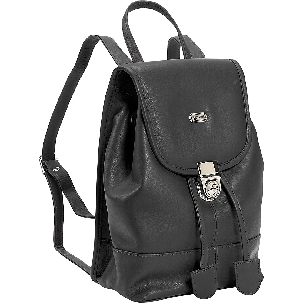 Leatherbay Leather Mini Backpack Purse - Black