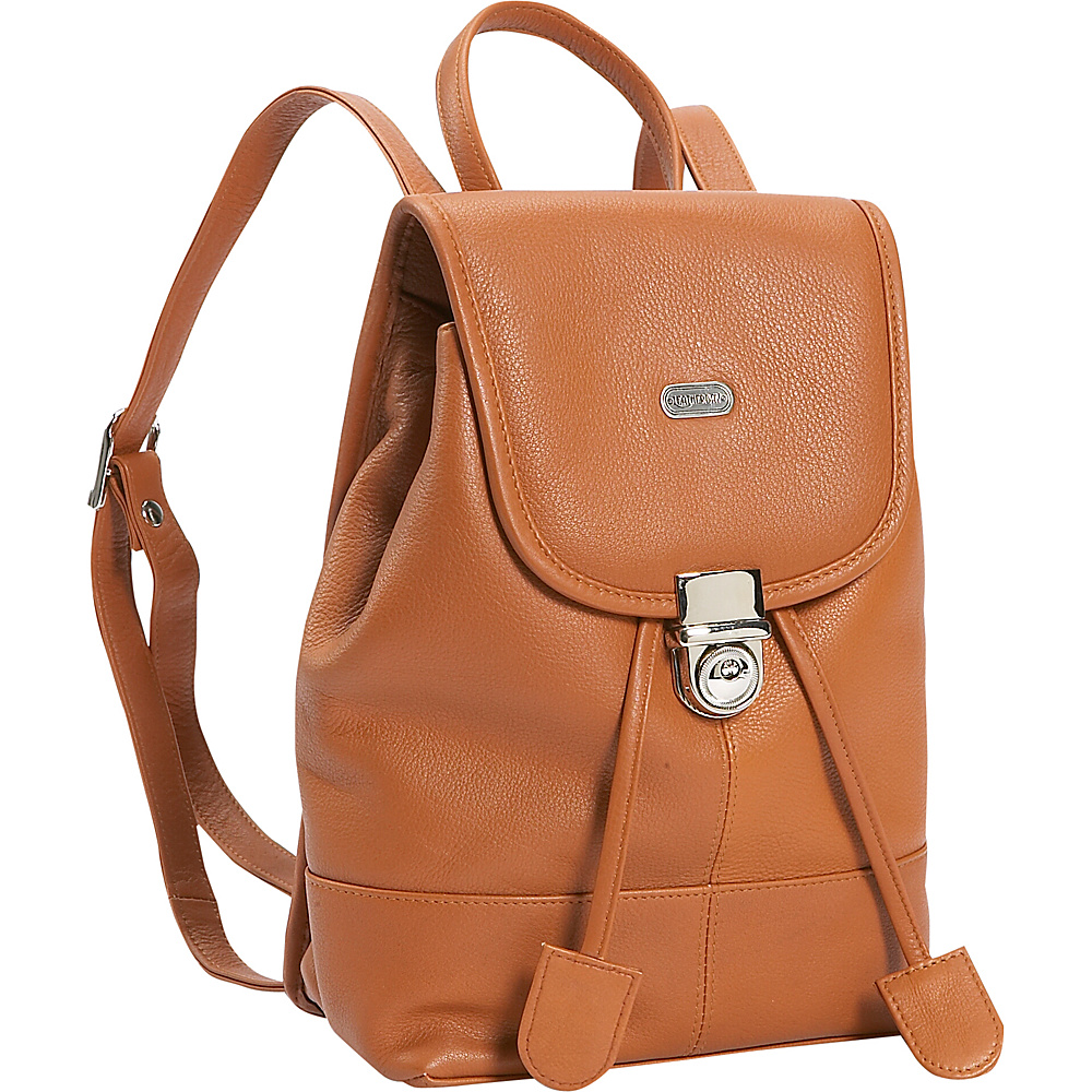 Leatherbay Leather Mini Backpack Purse - English Tan