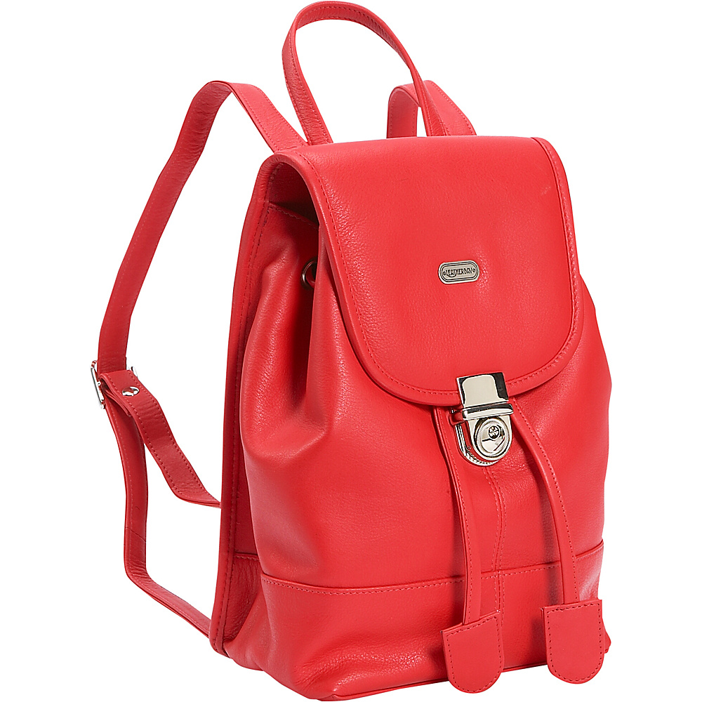 Leatherbay Leather Mini Backpack Purse - Crimson Red
