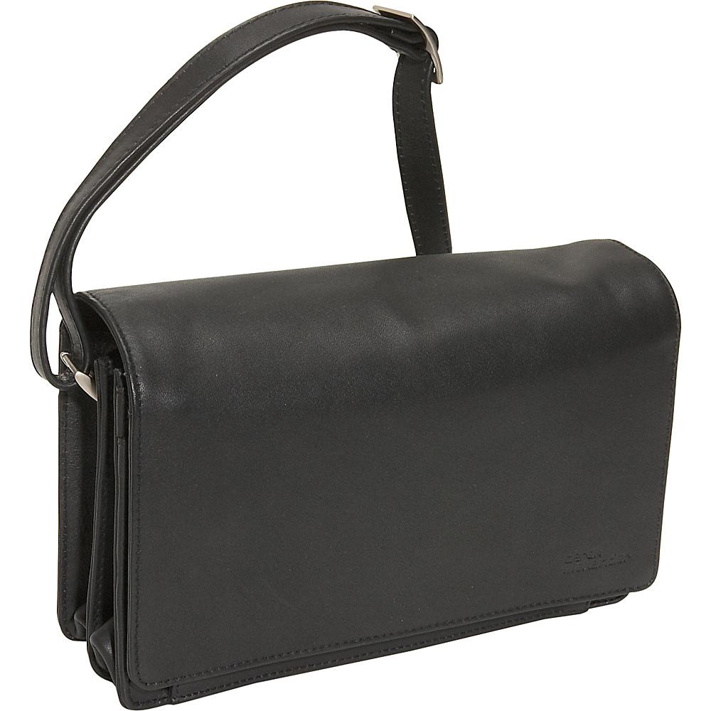 Derek Alexander Full Flap Organizer Handbag - Black - Handbags, Leather Handbags