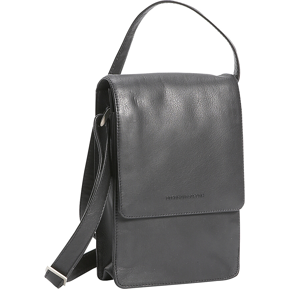 Derek Alexander North/South Unisex Flap Over - Black - Handbags, Leather Handbags