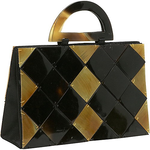 Global Elements Criss Cross Shell/Horn Handbag - Clutch