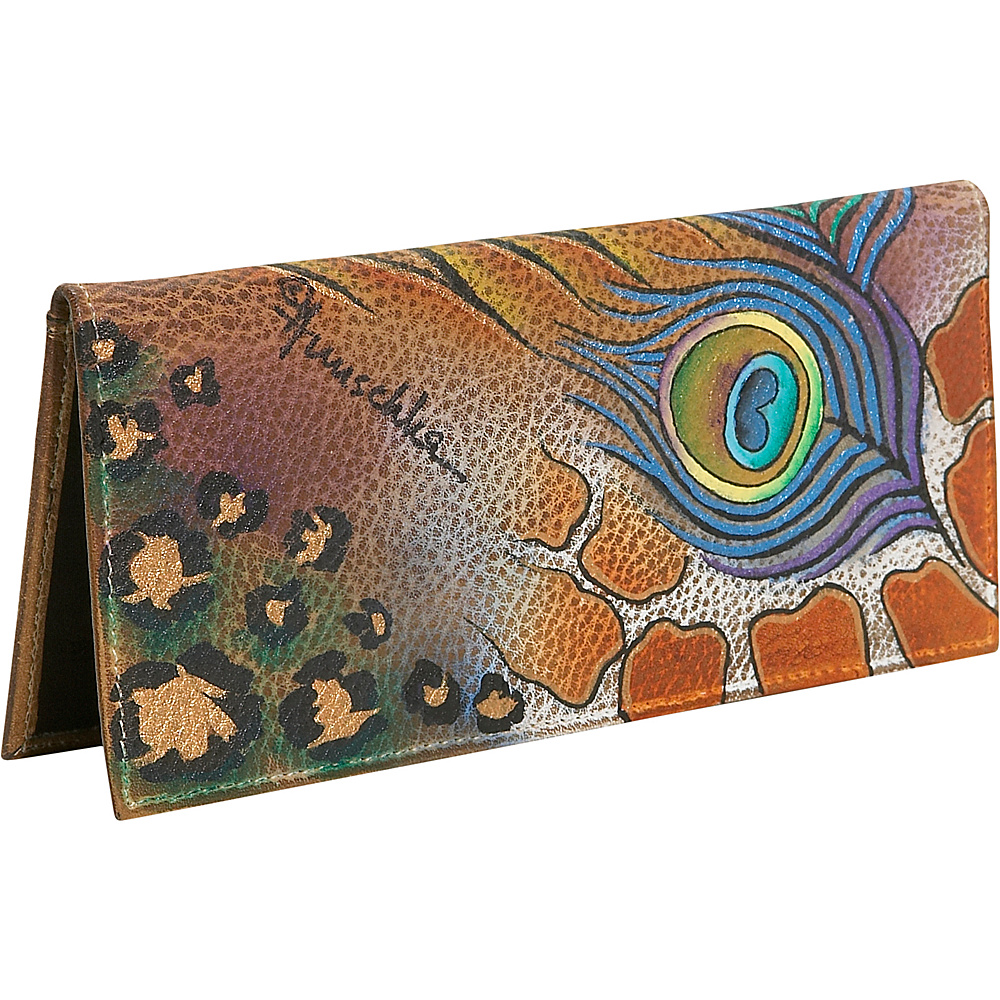 Anuschka Check-book Cover: Premium Peacock Safari Premium Peacock Safari - Anuschka Women's Wallets