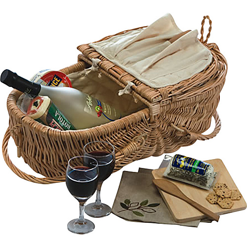 Picnic Plus Eco Natural Wine & Cheese Basket - Willow