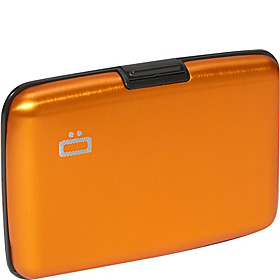 RFID Aluminum Small Ribbed Wallet Orange