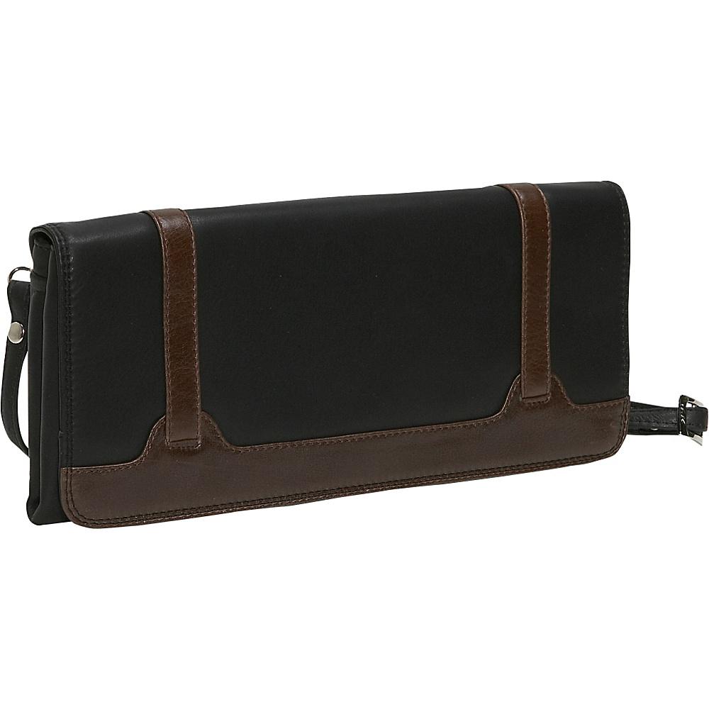 Derek Alexander Full Flap Clutch - Black and Brown - Handbags, Leather Handbags
