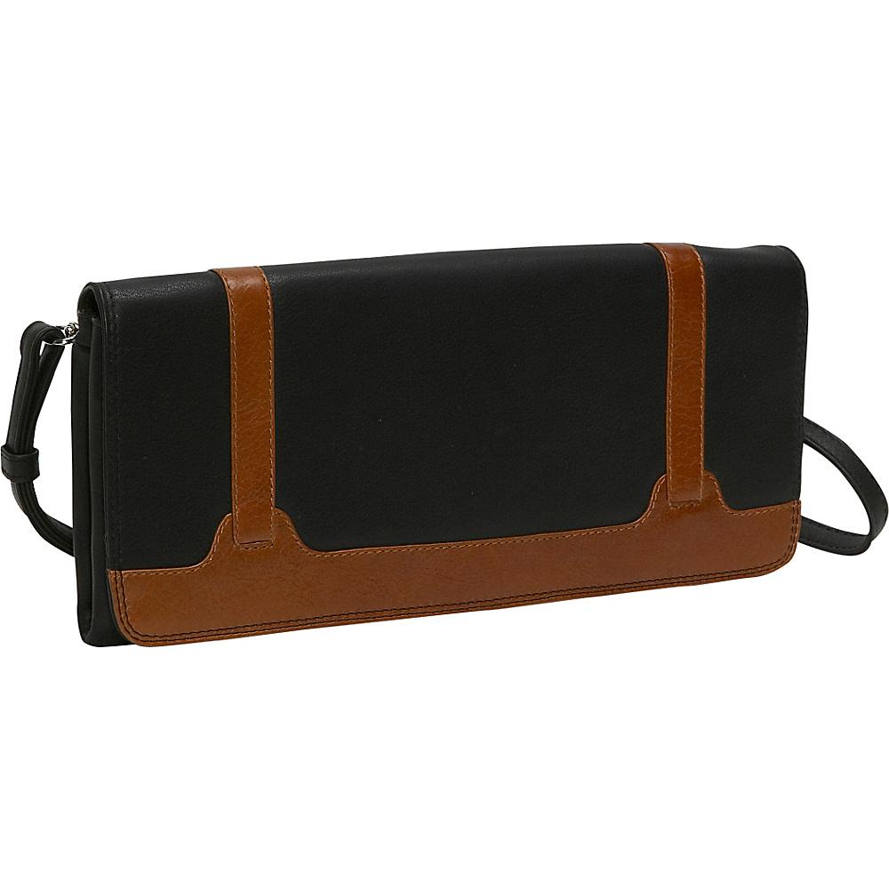 Derek Alexander Full Flap Clutch - BLACK/TAN - Handbags, Leather Handbags