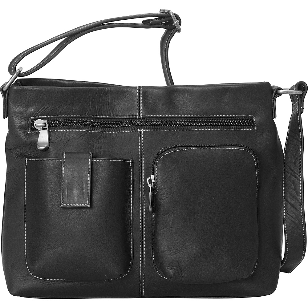 Le Donne Leather Two Pocket Crossbody Black - Le Donne Leather Leather Handbags - Handbags, Leather Handbags