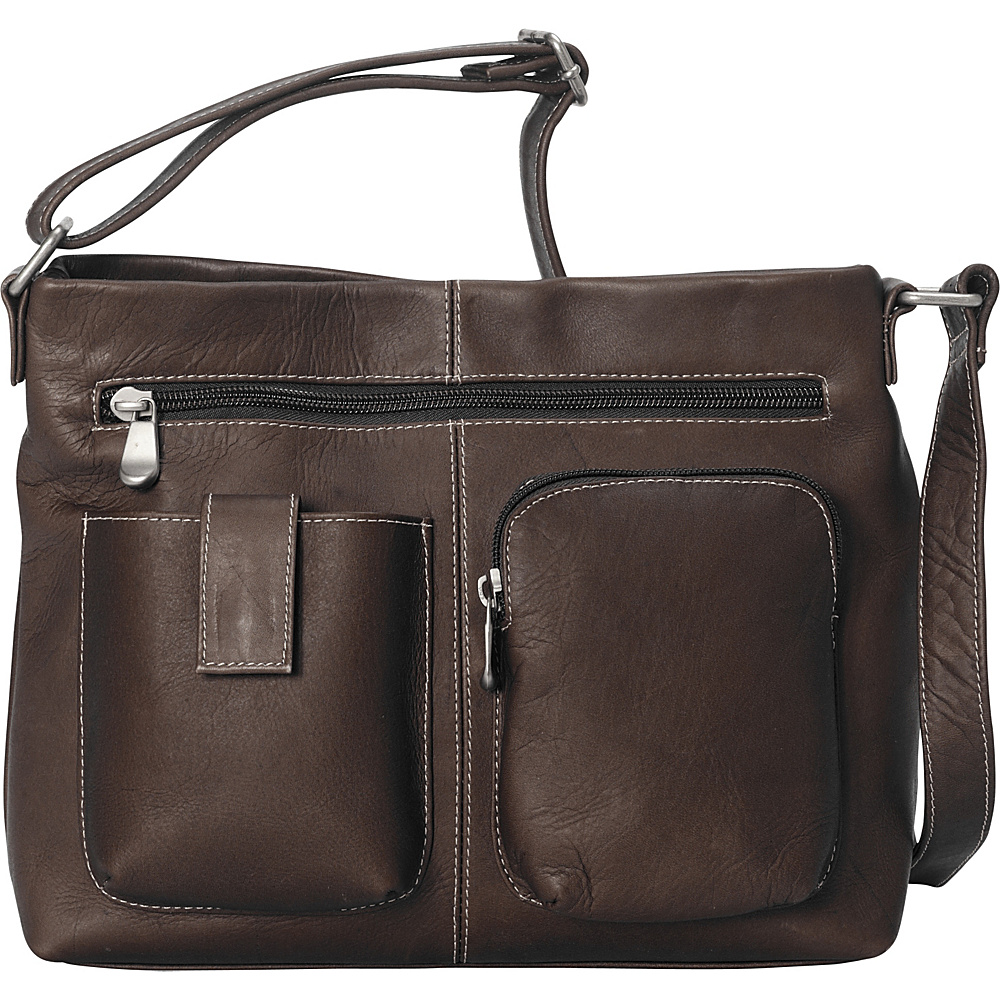 Le Donne Leather Two Pocket Crossbody - Caf - Handbags, Leather Handbags