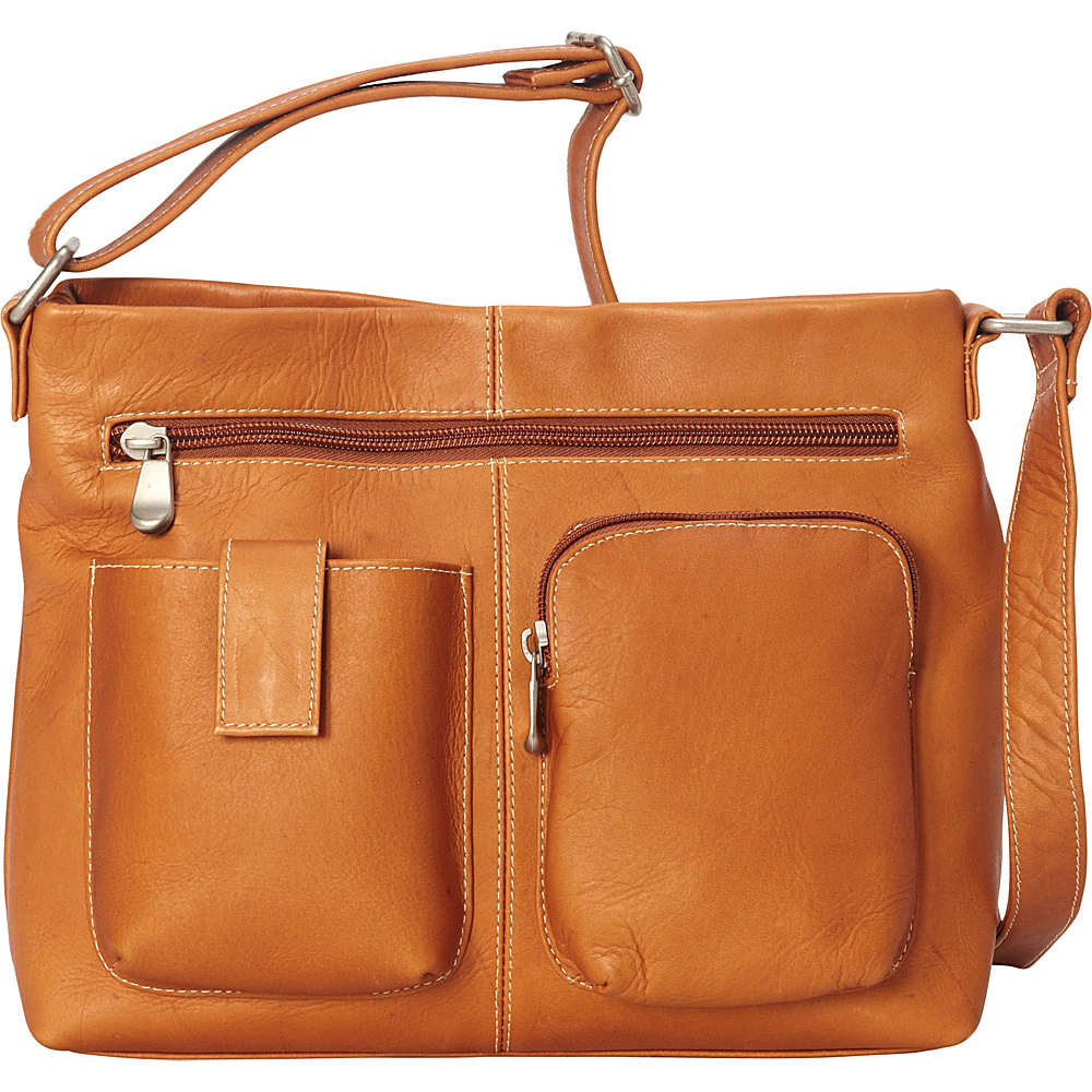 Le Donne Leather Two Pocket Crossbody Tan - Le Donne Leather Leather Handbags - Handbags, Leather Handbags