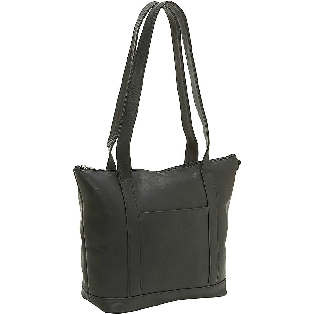 Le Donne Leather Double Strap Pocket Tote - Black - Handbags, Leather Handbags