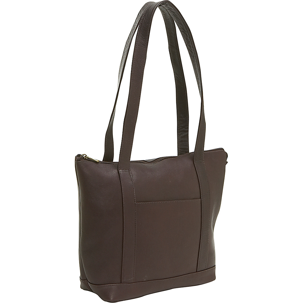 Le Donne Leather Double Strap Pocket Tote - Caf - Handbags, Leather Handbags