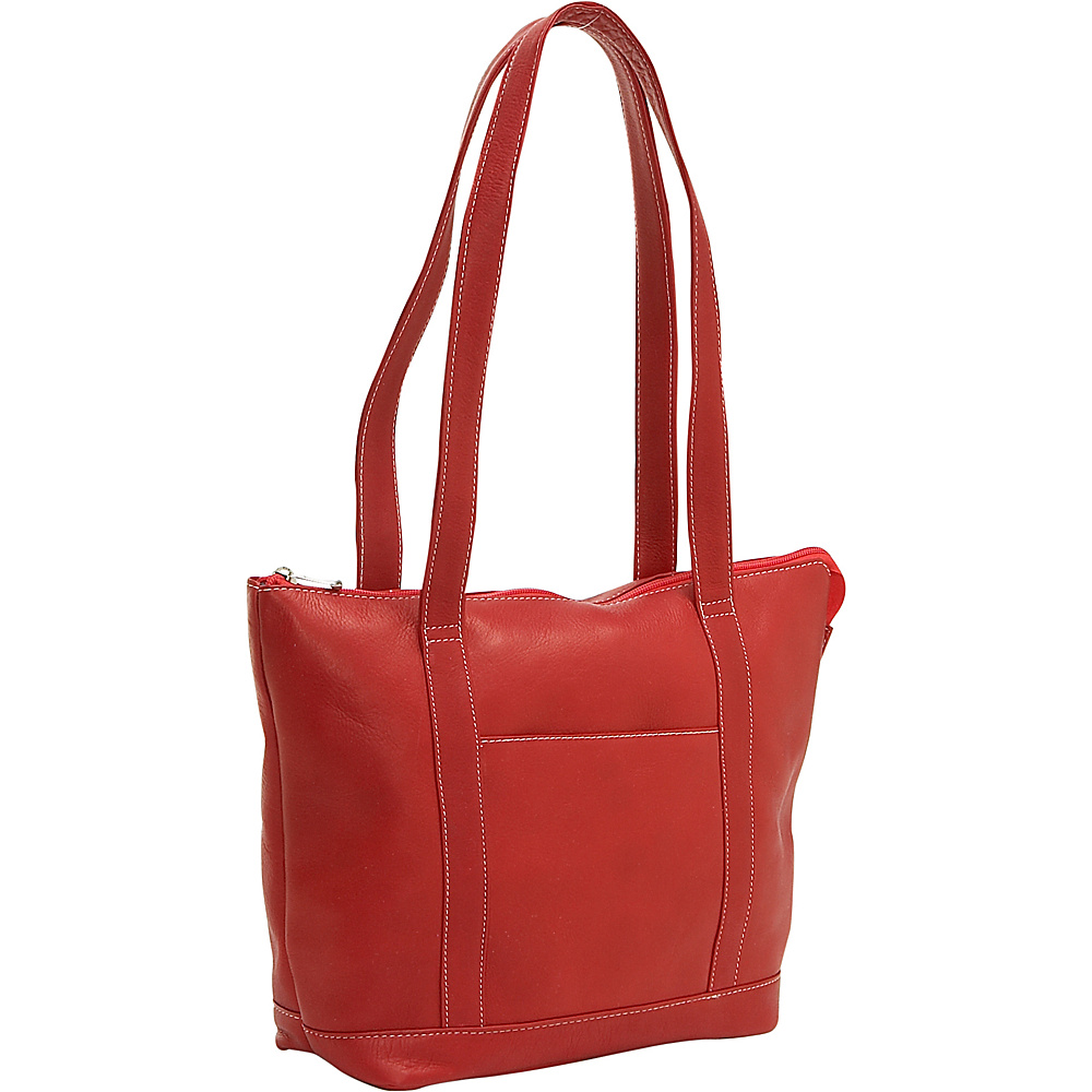 Le Donne Leather Double Strap Pocket Tote - Red - Handbags, Leather Handbags