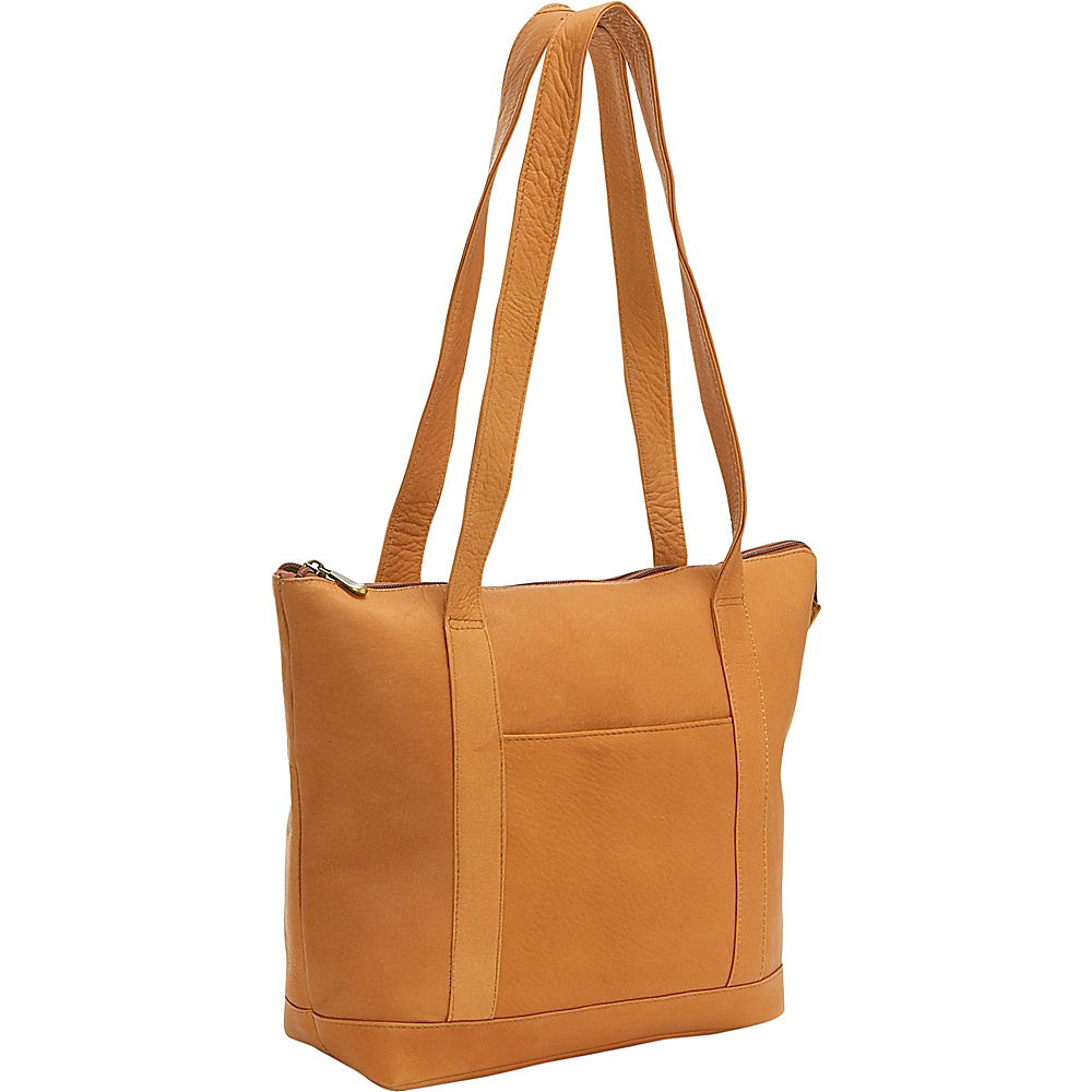 Le Donne Leather Double Strap Pocket Tote - Tan - Handbags, Leather Handbags