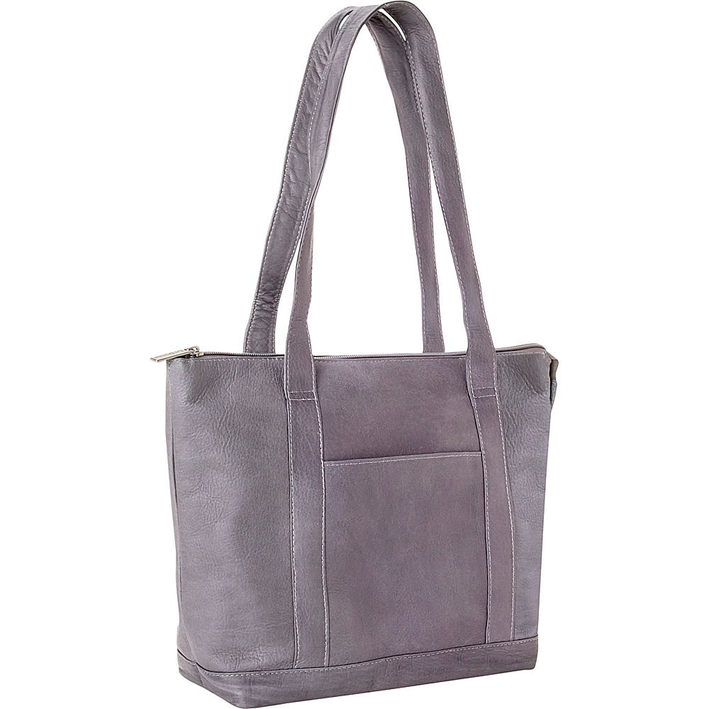 Le Donne Leather Double Strap Pocket Tote Gray - Le Donne Leather Leather Handbags - Handbags, Leather Handbags