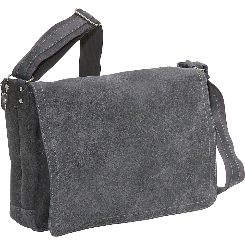 David King & Co. Distressed Leather Full Flap Laptop Messenger - L Distressed Grey - David King & Co. Messenger Bags - Work Bags & Briefcases, Messenger Bags