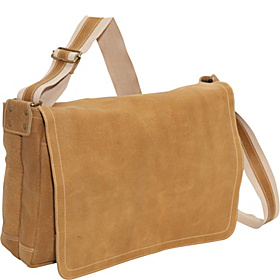 Distressed Leather Full Flap Laptop Messenger - L Distressed Tan