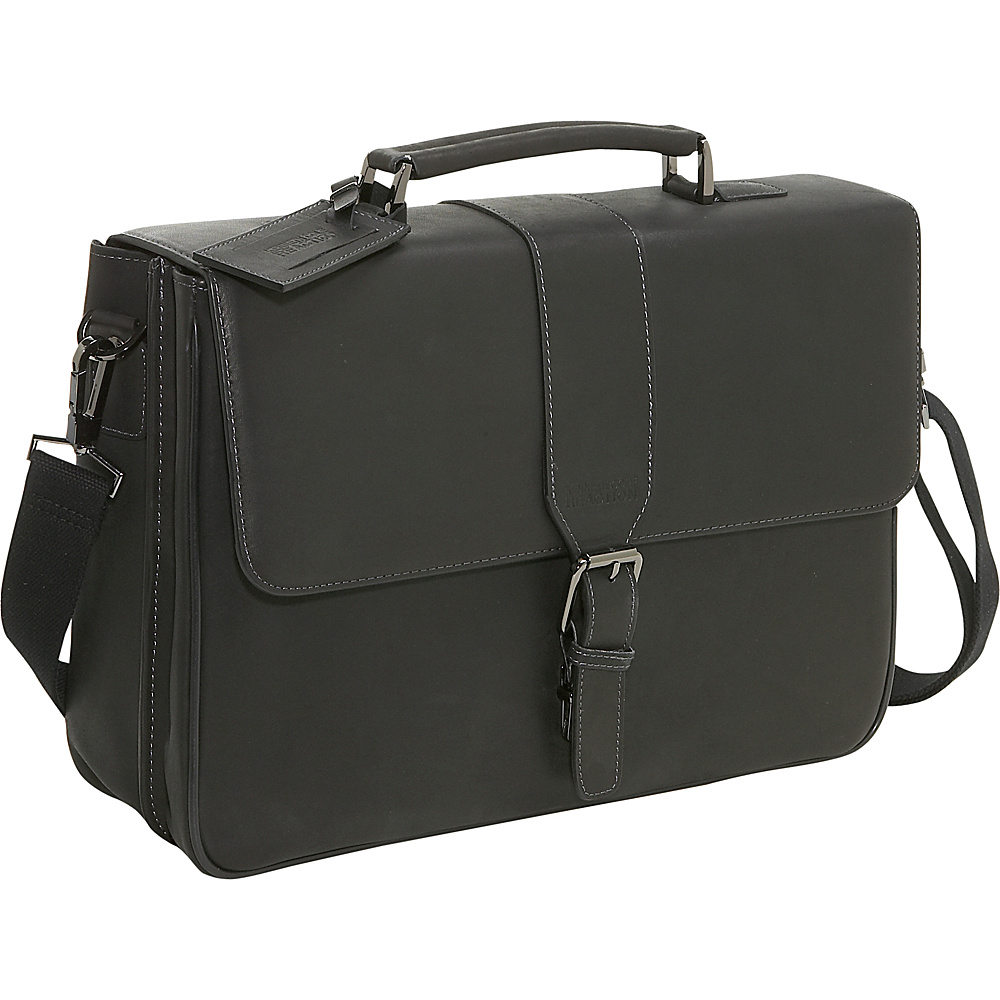 Kenneth Cole Reaction Leather Laptop Briefcase - Black - Work Bags & Briefcases, Non-Wheeled Business Cases